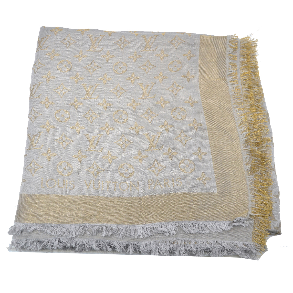 Louis Vuitton Grey & Gold Silk Shawl