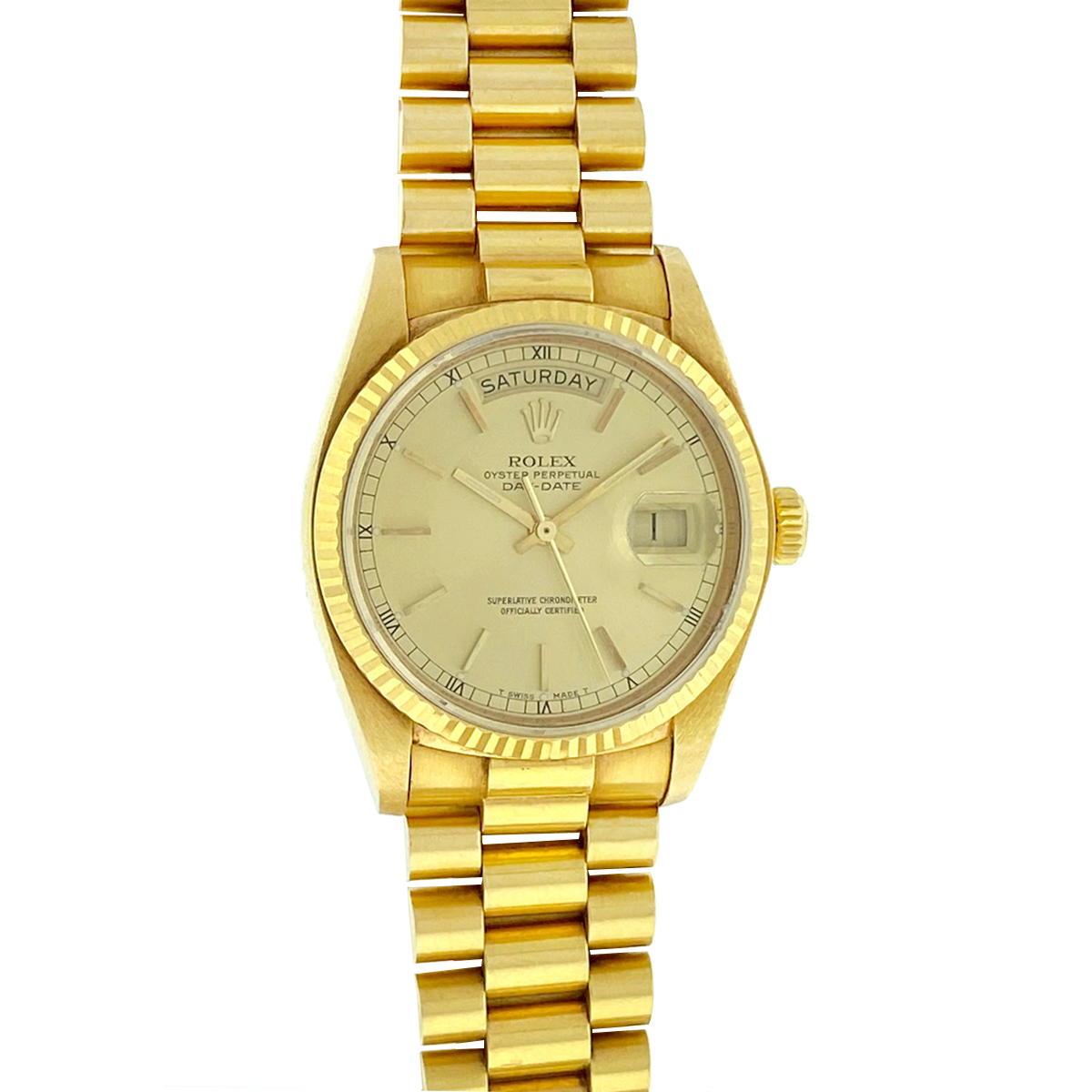 Rolex 18038 18k Yellow Gold Single Quick Day Date President Men's Watch