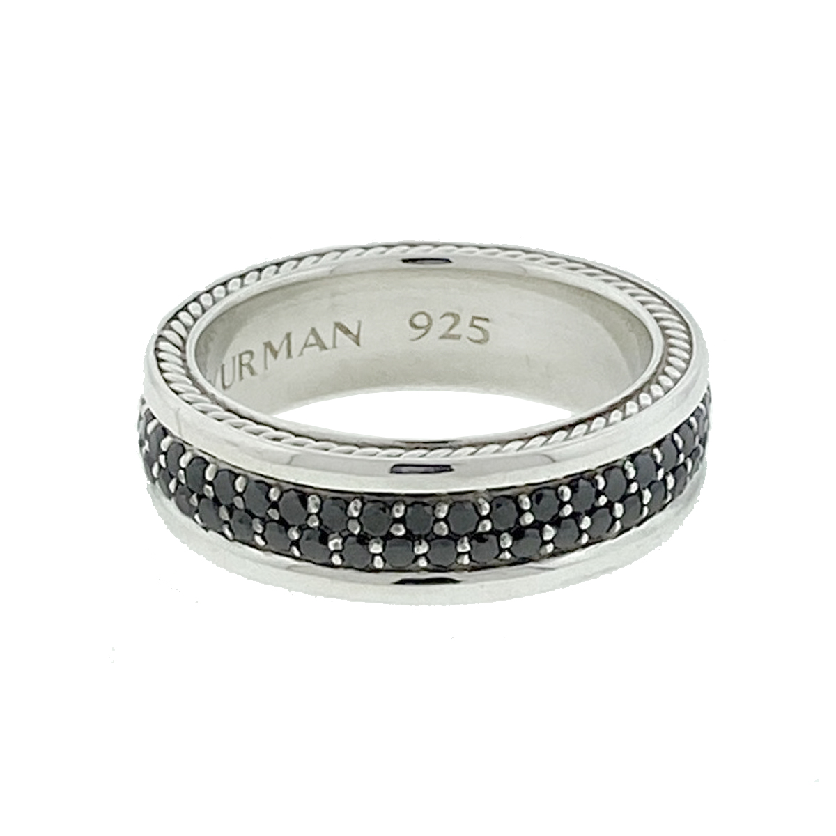David Yurman Streamline Pave Band In Sterling Silver With Black Diamonds Ring