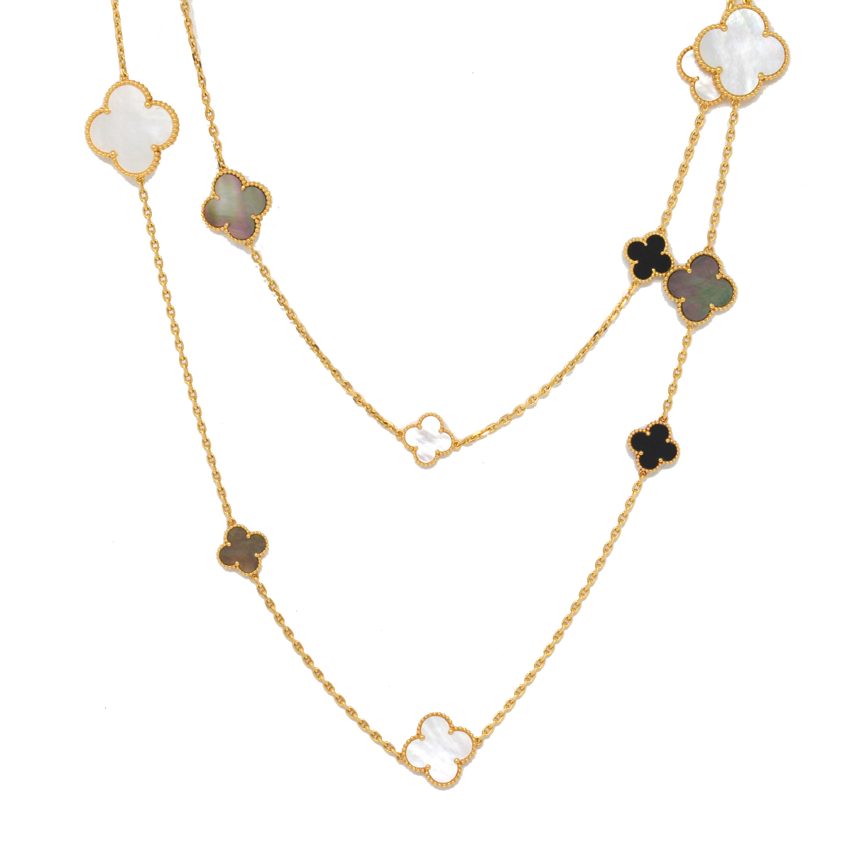 Van Cleef & Arpels 18k Yellow Gold Magic Alhambra 16 Motif Long Necklace