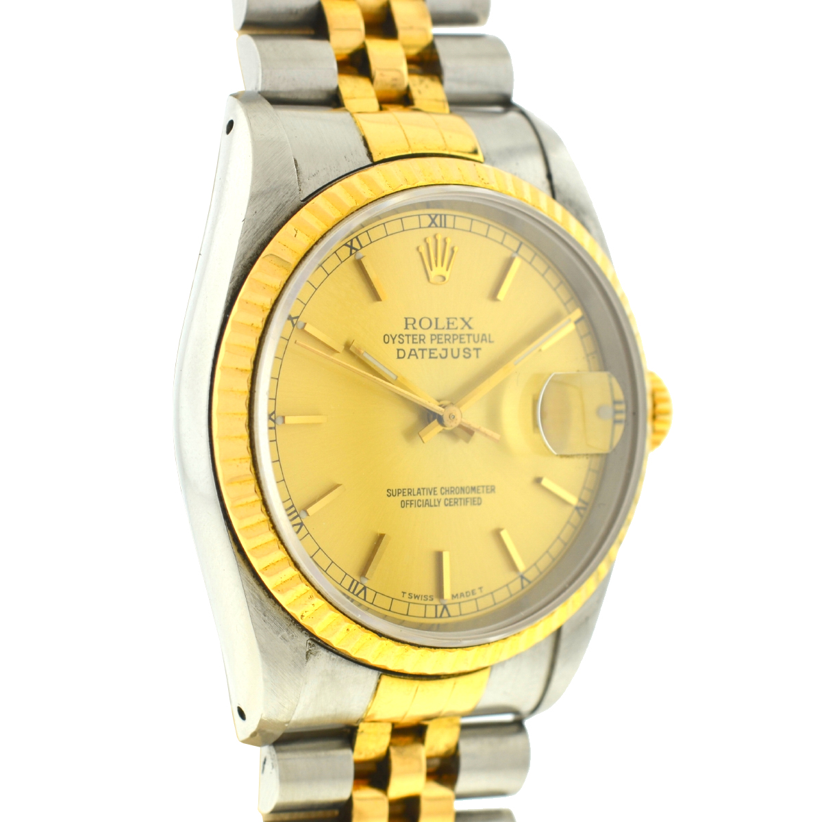Rolex 16233 Datejust Two Tone Champagne Dial 36mm Automatic Watch