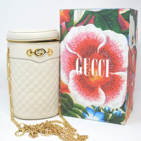 Gucci Zumi White Quilted Leather Cylindrical Belt Shoulder Bag
