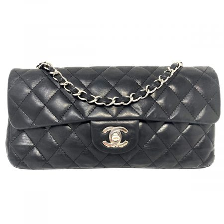 Chanel Small Black Flap Quilted Lambskin Leather Shoulder Bag