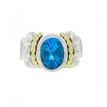 David Yurman Caviar Collection Two Tone Oval Blue Topaz Cable Ring
