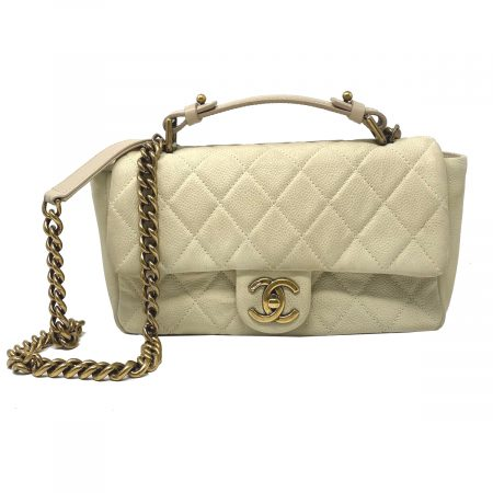 Chanel Flap Bag GHW Dark White Quilted Lambskin Top Handle Crossbody Bag