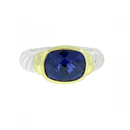 David Yurman Noblesse Two Tone Iolite Cable Ring