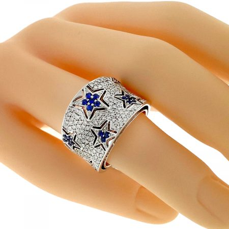 18k White Gold Diamond and Sapphire Star Pave Cocktail Ring Approx.1.30ctw