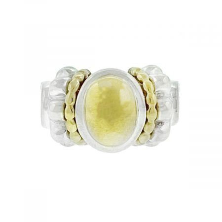 David Yurman Caviar Collection Two Tone Oval Cable Ring