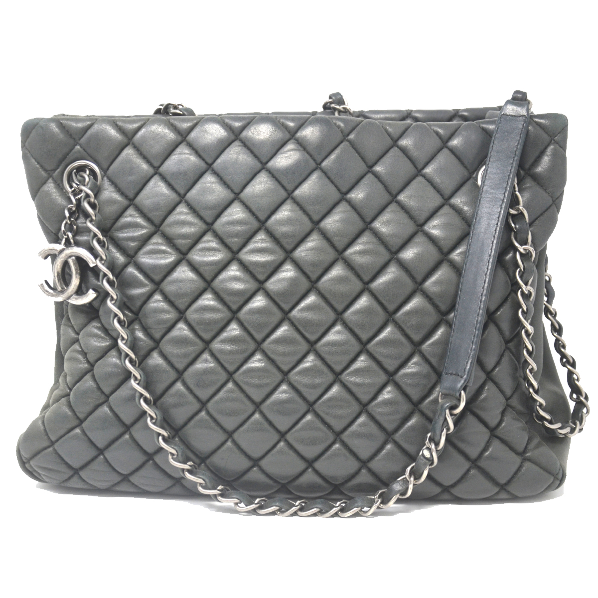Chanel Charcoal Calfskin Leather Bubble Small Tote Bag
