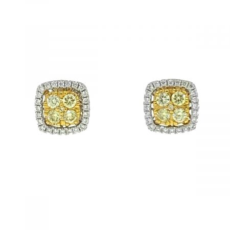 Effy Canare 18k Two tone Diamond Halo Yellow Diamond Stud Earrings Apprx .51ctwEffy Canare 18k Two tone Diamond Halo Yellow Diamond Stud Earrings Apprx .51ctwEffy Canare 18k Two tone Diamond Halo Yellow Diamond Stud Earrings Apprx .51ctw