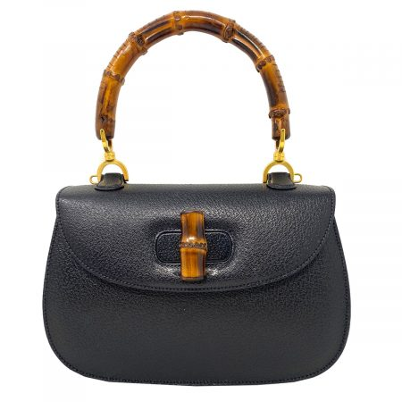Gucci Vintage Convertible Black Bamboo Leather Top Handle Bag