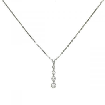 Judith Ripka Sterling Silver 5 Stones Drop Cz Necklace