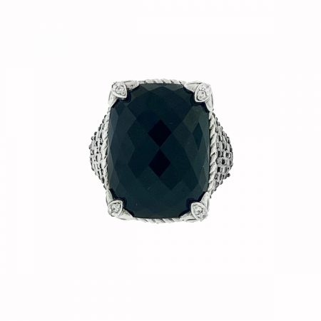 Judith Ripka Sterling Silver Monaco Onyx with Cz Ring