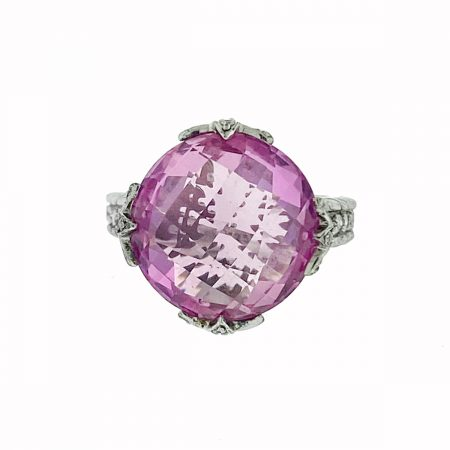 Judith Ripka Sterling Silver Pink Stone with Cz Ring
