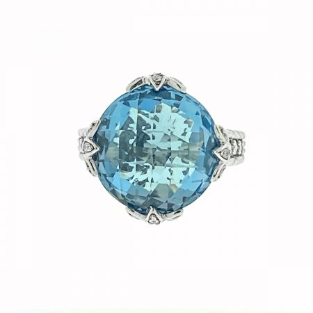 Judith Ripka Sterling Silver Round Blue Stone with Cz Ring