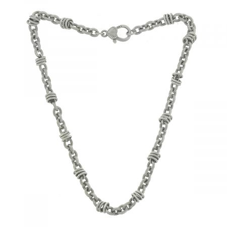Judith Ripka Sterling Silver Multi Strand Chain Necklace