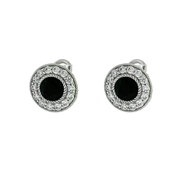 Judith Ripka Sterling Silver Onyx and Cz Stud Earrings