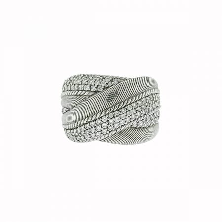 Judith Ripka Sterling Silver Wide Diamonique Cz Ring
