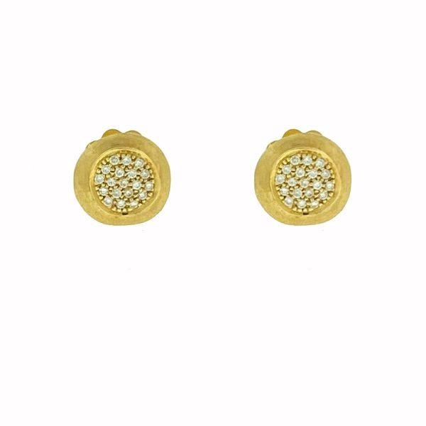 Marco Bicego 18k Yellow Gold Jaipur Pave Stud Earrings