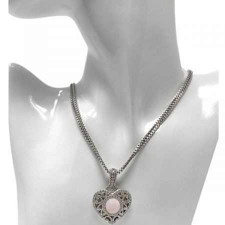 Judith Ripka Sterling Silver Pink Stone CZ Hear Pendant Double Strand Necklace