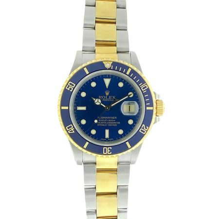 Rolex 16613 Two Tone 40mm Submariner Blue Dial Watch