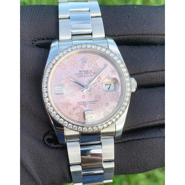 Rolex 116244 Datejust 36mm Pink Floral Dial Diamond Bezel Automatic Watch