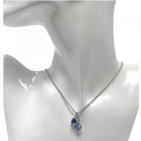 Judith Ripka Sterling Silver Light Blue and Dark Blue Stone Necklace