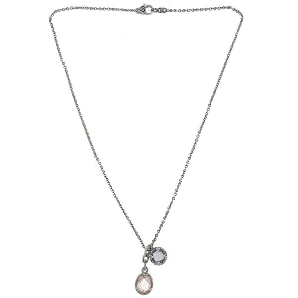 Judith Ripka Sterling Silver Pink and Purple Stone Necklace