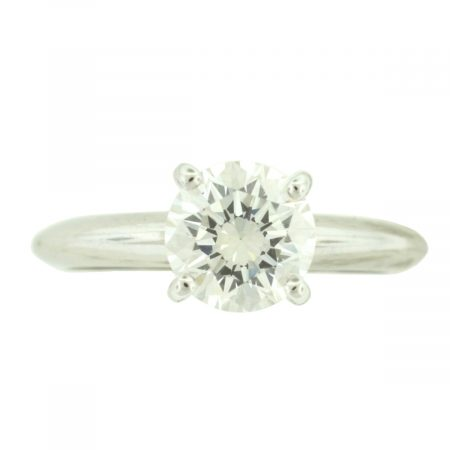 14k White Gold Round Brilliant Solitaire Diamond Engagement Ring 1.24 cts GIA