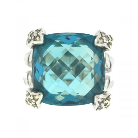 David Yurman Sterling Silver Blue Topaz Diamond Ring