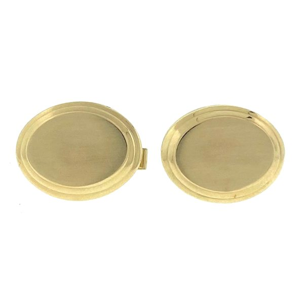 14k Yellow Gold Oval Cufflinks