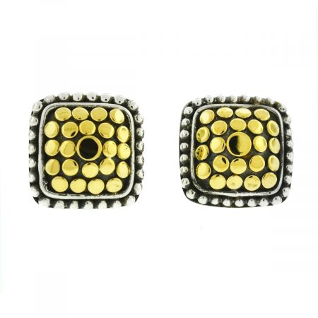 John Hardy Two Tone Dot Square Stud Earrings