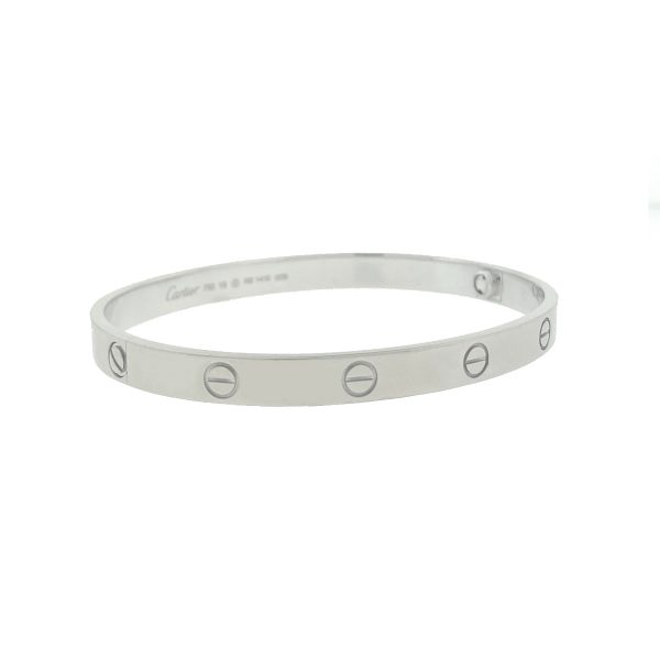 Cartier LOVE Bracelet 18k White Gold Size 19 Box and Papers