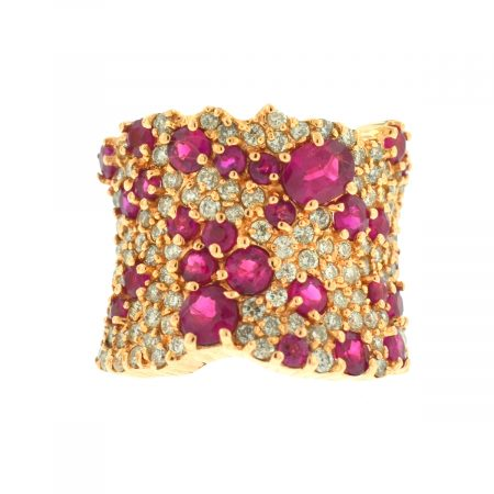 EFFY 14k Rose Gold Wide Pave Diamond and Ruby Ring Aprox.3.86Ctw