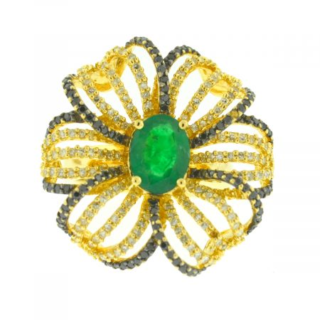 EFFY 14k yellow Gold White and Black Diamond Emerald Flower Ring Aprox 2.86ctw