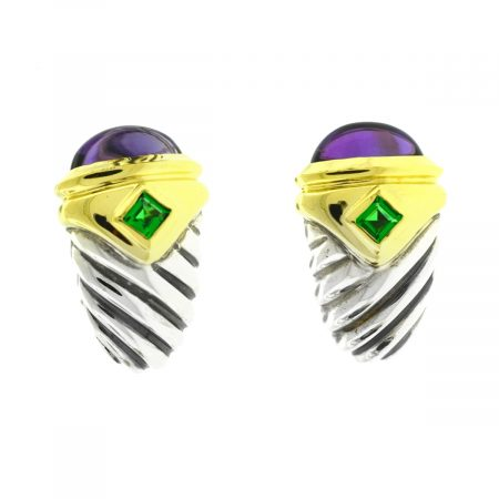 David Yurman Two Tone Renaissance Amethyst Emerald Earrings