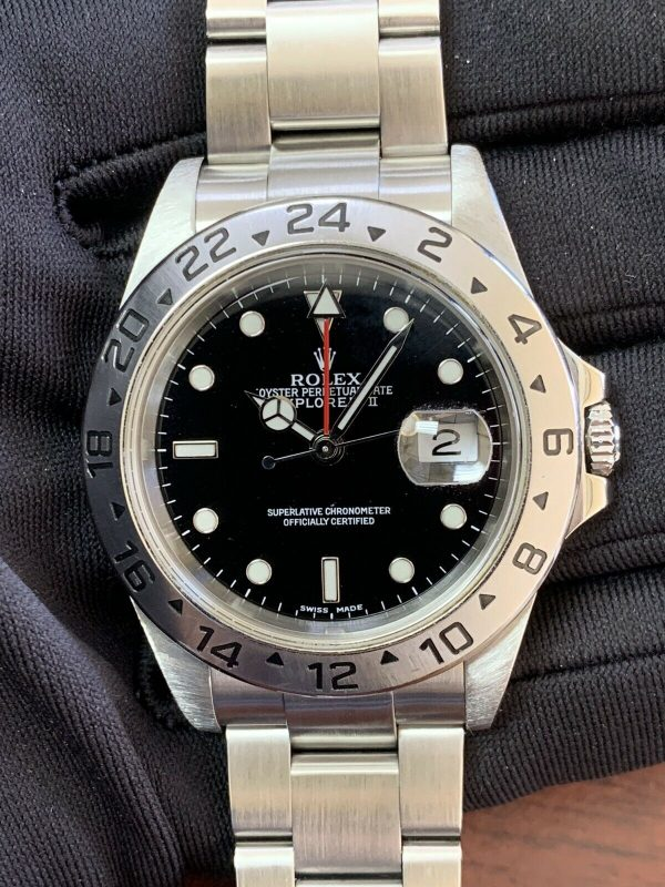 Rolex Explorer II Stainless Steel Black Dial Mens 40mm Automatic Watch 16570