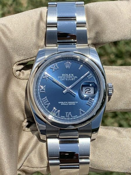 Rolex 116200 Datejust 36mm Roman Numeral Blue Dial Stainless Steel Watch