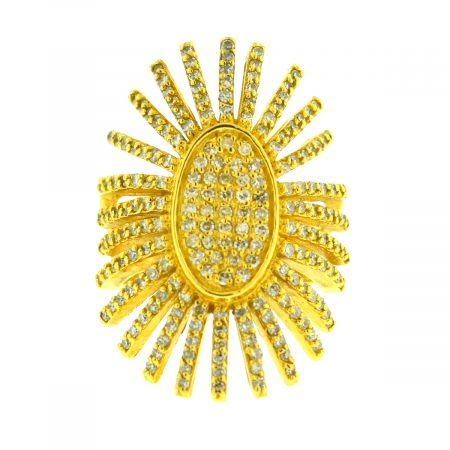 18k Yellow Gold Starburst Pave Diamond Ring Approx 1.50ctw