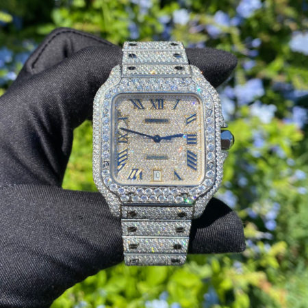Cartier 4072 Diamond Pave Santos Large Stainless Steel Automatic Watch COMPLETE