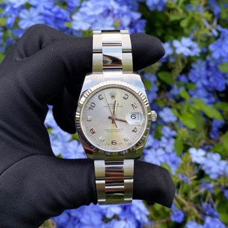 Rolex 115234 Datejust Diamond Numeral Dial Fluted Bezel Stainless Steel Watch