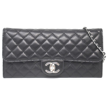 Chanel Wallet On Chain Clutch Quilted Black Leather East West SHW Handbag WOC