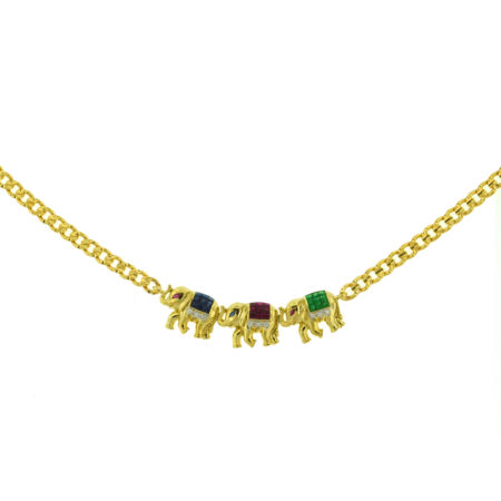 18k Yellow Gold Elephant Multi-Color Necklace