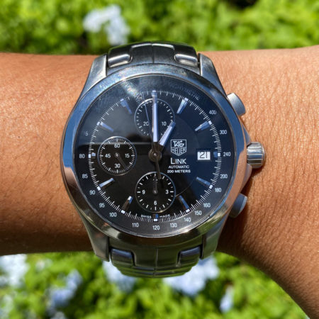 Tag Heuer CJF2110 Link Black Dial Chronograph Automatic Stainless Steel Watch