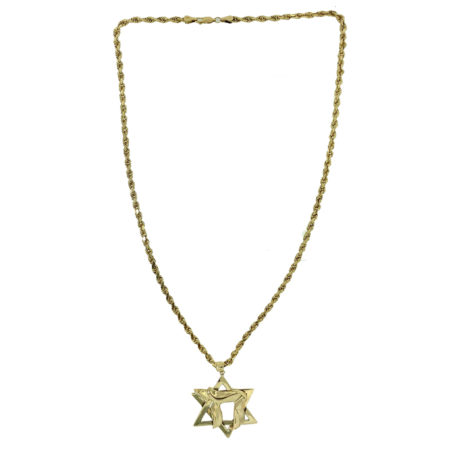 14k Yellow Gold Rope Chain W/ Star Of David and Chai Pendant